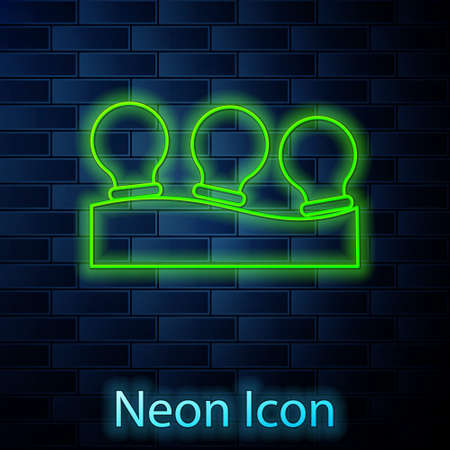 Glowing neon line Vacuum cans icon isolated on brick wall background. Massage jars for face and body. Medical anticellulite cups. Vector