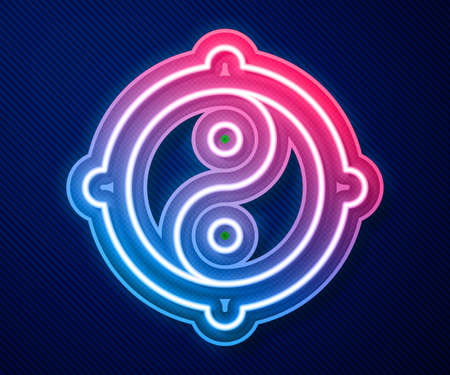 Glowing neon line Yin Yang symbol of harmony and balance icon isolated on blue background. Vector
