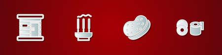Set Sauna wooden bathhouse, Incense sticks, Bath sponge and Toilet paper roll icon. Vector