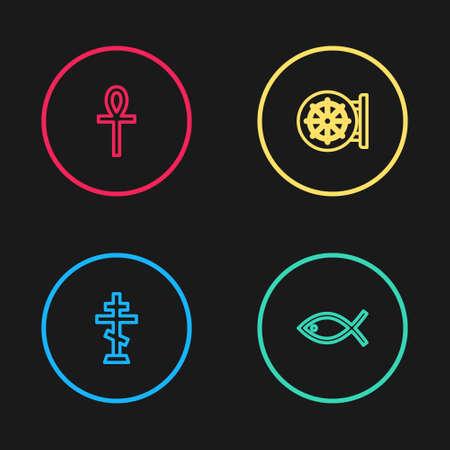 Set line Christian cross, fish, Dharma wheel and Cross ankh icon. Vector