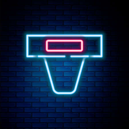 Glowing neon line Groin guard for martial arts icon isolated on brick wall background. Colorful outline concept. Vector