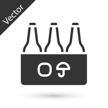 Grey Pack of beer bottles icon isolated on white background. Case crate beer box sign. Vector