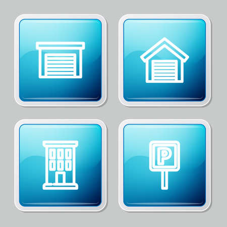 Set line Garage, , House and Parking icon. Vector