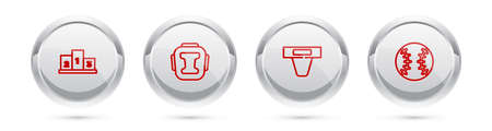 Set line Award over sports winner podium, Boxing helmet, Groin guard and Baseball ball. Silver circle button. Vector