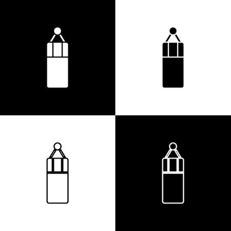 Set Punching bag icon isolated on black and white background. Vector