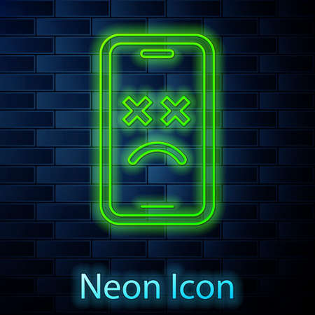 Glowing neon line Dead mobile icon isolated on brick wall background. Deceased digital device emoji symbol. Corpse smartphone showing facial emotion. Vector
