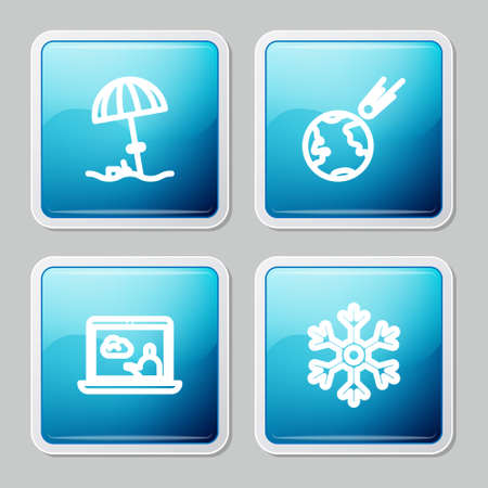 Set line Sun protective umbrella for beach, Comet falling down fast, Weather forecast and Snowflake icon. Vector
