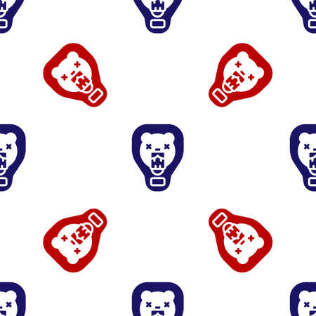 Blue and red Bear head on shield icon isolated seamless pattern on white background. Hunting trophy on wall. Vector
