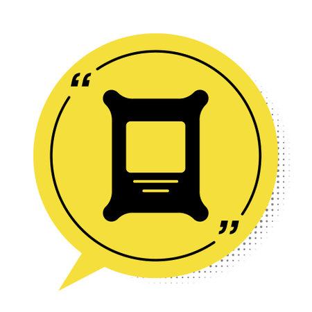Black Fertilizer bag icon isolated on white background. Yellow speech bubble symbol. Vector