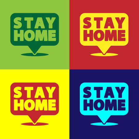 Pop art Stay home icon isolated on color background.  Vector. Ilustrace