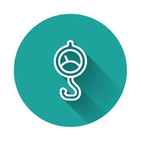 White line Spring scale icon isolated with long shadow. Balance for weighing. Determination of weight. Green circle button. Vector