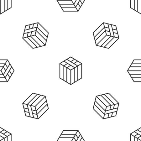 Grey line Bale of hay icon isolated seamless pattern on white background. Vector