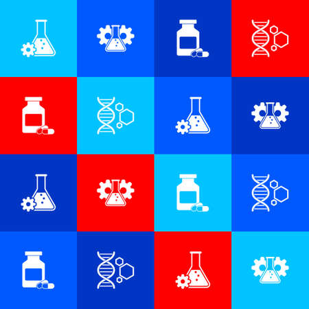 Set Bioengineering, Medicine bottle and pills and Genetic icon. Vector
