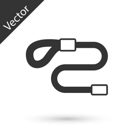 Grey Retractable cord leash with carabiner icon isolated on white background. Pet dog lead. Animal accessory for outdoors walk. Vector