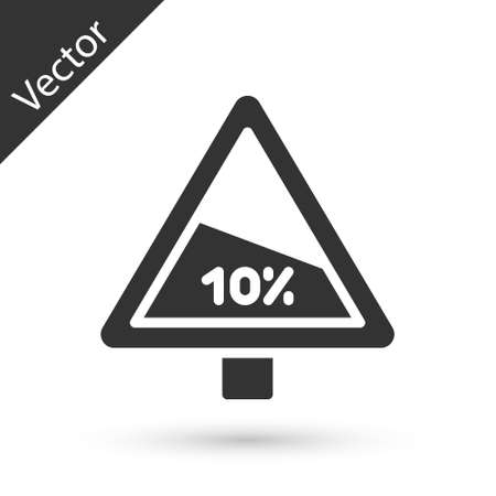 Grey Steep ascent and steep descent warning road icon isolated on white background. Traffic rules and safe driving. Vector