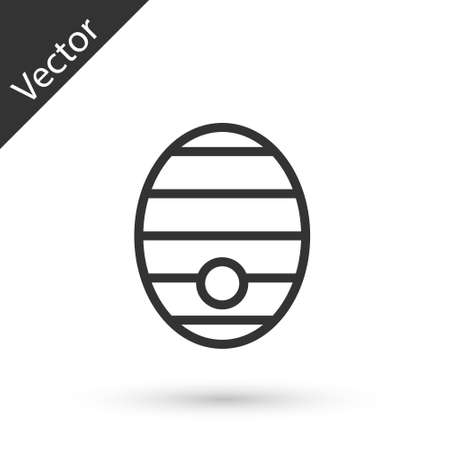 Grey line Hive for bees icon isolated on white background. Beehive symbol. Apiary and beekeeping. Sweet natural food. Vector