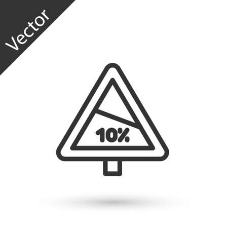 Grey line Steep ascent and steep descent warning road icon isolated on white background. Traffic rules and safe driving. Vector
