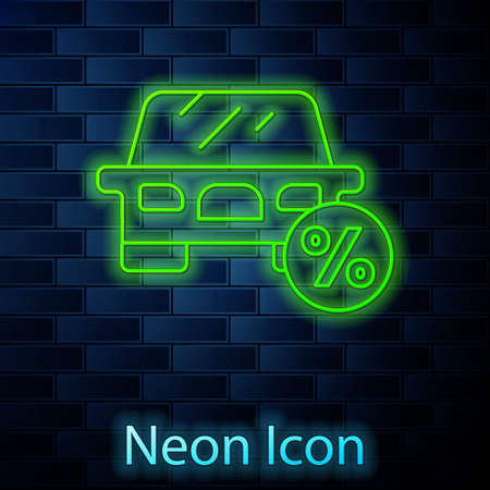 Glowing neon line Car leasing percent icon isolated on brick wall background. Credit percentage symbol. Vector