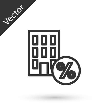 Grey line House with percant discount tag icon isolated on white background. Real estate home. Credit percentage symbol. Vector