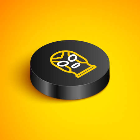 Isometric line Mexican wrestler icon isolated on yellow background. Black circle button. Vector