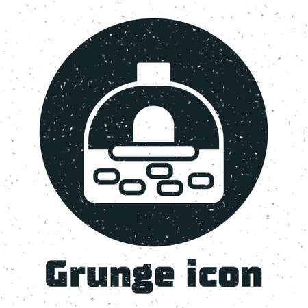 Grunge Brick stove icon isolated on white background. Brick fireplace, masonry stove, stone oven icon.Monochrome vintage drawing. Vector
