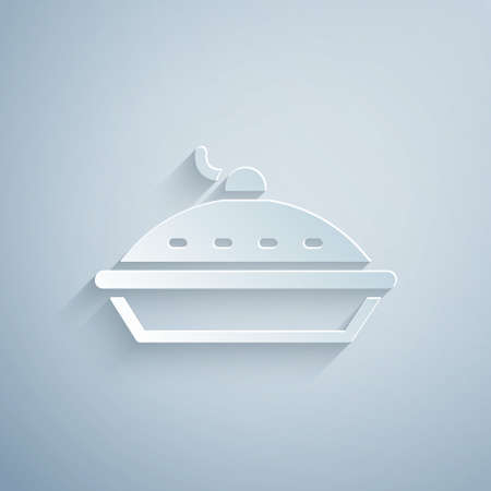 Paper cut Homemade pie icon isolated on grey background. Paper art style. Vector