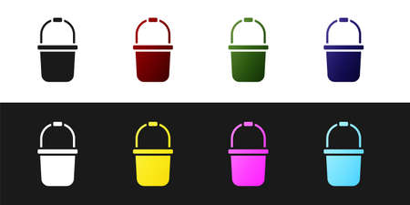 Set Sauna bucket icon isolated on black and white background. Vector