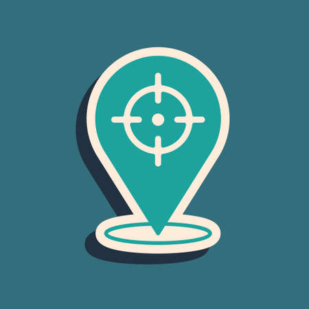 Green Target financial goal concept icon isolated on green background. Symbolic goals achievement, success. Long shadow style. Vector