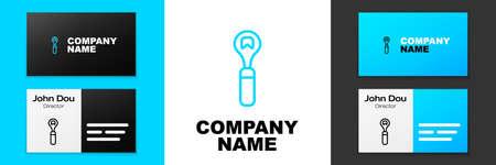 Blue line Bottle opener icon isolated on white background. Logo design template element. Vector
