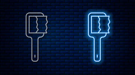 Glowing neon line Sauna brush icon isolated on brick wall background. Wooden brush with coarse bristles for washing in the bath. Anti cellulite massage. Vector