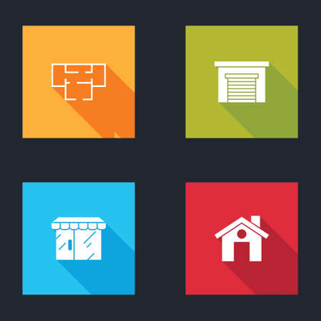 Set House plan, Garage, Market store and icon. Vector