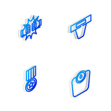 Set Isometric line Groin guard, Punch boxing gloves, Medal and Bathroom scales icon. Vector