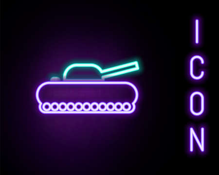Glowing neon line Military tank icon isolated on black background. Colorful outline concept. Vector