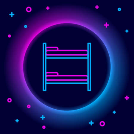 Glowing neon line Bunk bed icon isolated on black background. Colorful outline concept. Vector