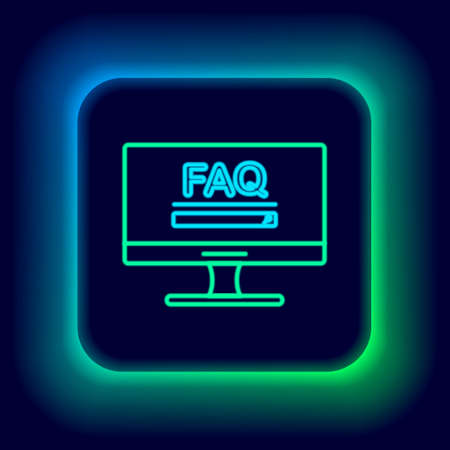 Glowing neon line Computer monitor with text FAQ information icon isolated on black background. Frequently asked questions. Colorful outline concept. Vector