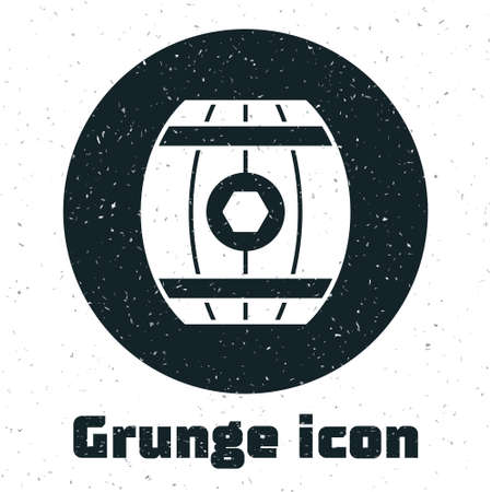 Grunge Wooden barrel with honey icon isolated on white background. Monochrome vintage drawing. Vector