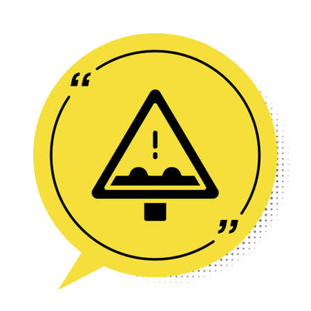 Black Uneven road ahead sign. Warning road icon isolated on white background. Traffic rules and safe driving. Yellow speech bubble symbol. Vector