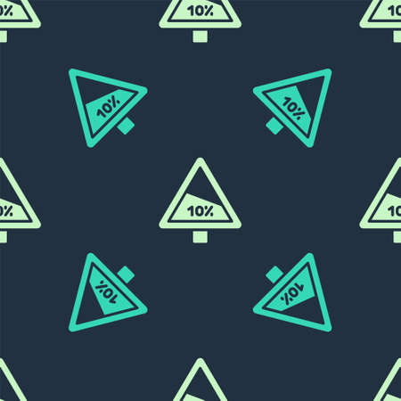Green and beige Steep ascent and steep descent warning road icon isolated seamless pattern on blue background. Traffic rules and safe driving. Vector
