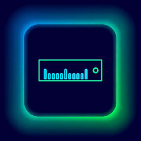 Glowing neon line Ruler icon isolated on black background. Straightedge symbol. Colorful outline concept. Vector Vetores