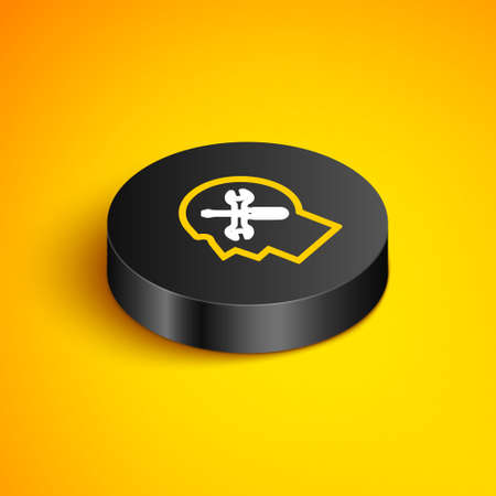 Isometric line Human head with with screwdriver and wrench icon isolated on yellow background. Artificial intelligence. Symbol work of brain. Black circle button. Vector