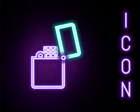 Glowing neon line Lighter icon isolated on black background. Colorful outline concept. Vector Ilustración de vector
