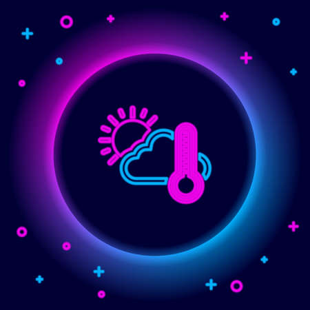 Glowing neon line Thermometer and cloud with sun icon isolated on black background. Colorful outline concept. Vector