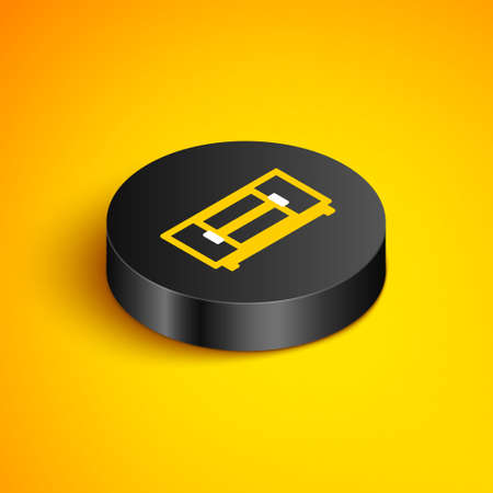 Isometric line TV table stand icon isolated on yellow background. Black circle button. Vector