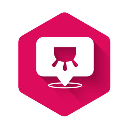 White Udder icon isolated with long shadow background. Pink hexagon button. Vector