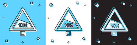 Set Steep ascent and steep descent warning road icon isolated on blue and white, black background. Traffic rules and safe driving. Vector