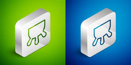 Isometric line Udder icon isolated on green and blue background. Silver square button. Vector