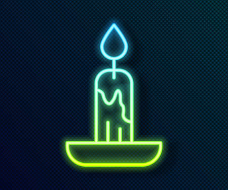 Glowing neon line Burning candle icon isolated on black background. Cylindrical candle stick with burning flame. Vector Vecteurs
