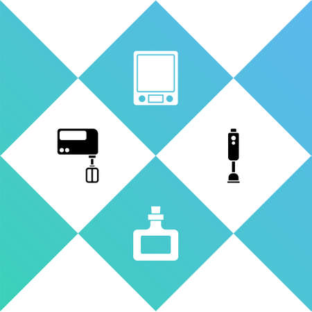 Set Electric mixer, Sauce bottle, Electronic scales and Blender icon. Vector Vector Illustratie