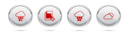 Set line Cloud with snow and rain, Add new file. Silver circle button. Vector Ilustrace