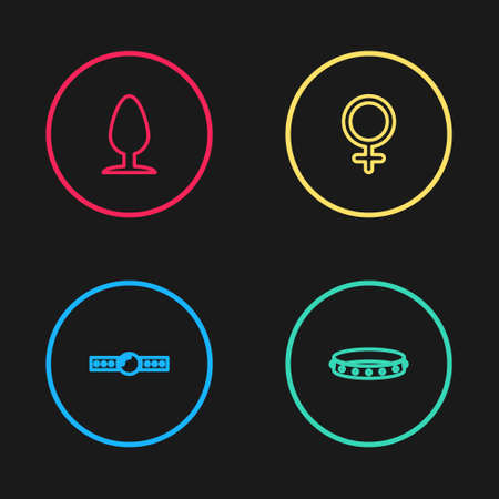 Set line Silicone ball gag, Leather fetish collar, Female gender symbol and Anal plug icon. Vector